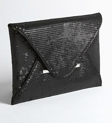 BCBG black sequin envelope bag