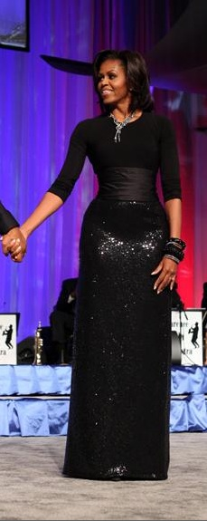 Michelle Obama black sequin skirt